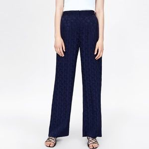 NEW - Zara - Navy Silky Floral Trouser Pants - M